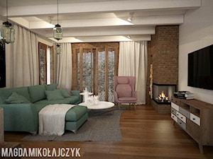 Dom w Koninie - Mały biały brązowy salon, styl vintage - zdjęcie od Magda Mikołajczyk PRACOWNIA PROJEKTOWANIA WNĘTRZ