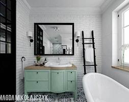 Dom w Koninie - Mała łazienka w bloku w domu jednorodzinnym z oknem, styl vintage - zdjęcie od Magda Mikołajczyk PRACOWNIA PROJEKTOWANIA WNĘTRZ