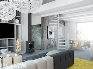 Średni szary biały kolorowy salon z kuchnią z jadalnią, styl industrialny - zdjęcie od Magda Mikołajczyk PRACOWNIA PROJEKTOWANIA WNĘTRZ