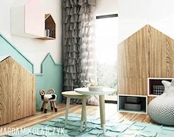 DOM W TORUNIU - Mały biały zielony pokój dziecka dla chłopca dla dziewczynki dla ucznia dla malucha, styl nowoczesny - zdjęcie od Magda Mikołajczyk PRACOWNIA PROJEKTOWANIA WNĘTRZ