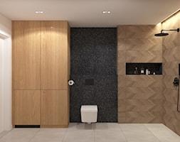 Łazienka z czarnymi płytkami - zdjęcie od MACZ Architektura - Homebook