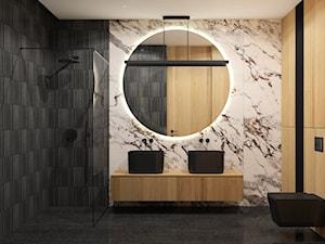 Czarna łazienka w domu jednorodzinnym