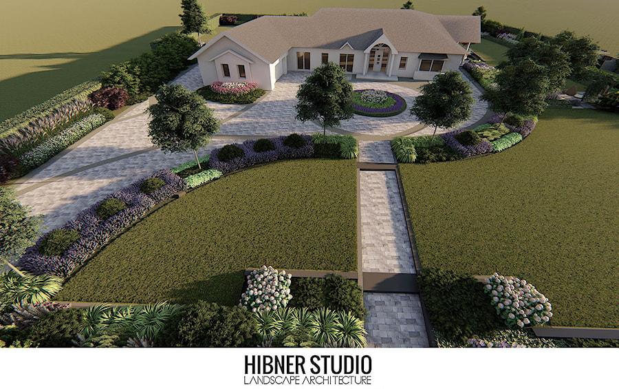 Aranżacje wnętrz - Ogród: Ogród przy nowoczesnej rezydencji, Ciechocinek - Duży ogród przed domem, styl nowoczesny - Hibner Studio Pracownia Architektury Krajobrazu. Przeglądaj, dodawaj i zapisuj najlepsze zdjęcia, pomysły i inspiracje designerskie. W bazie mamy już prawie milion fotografii!