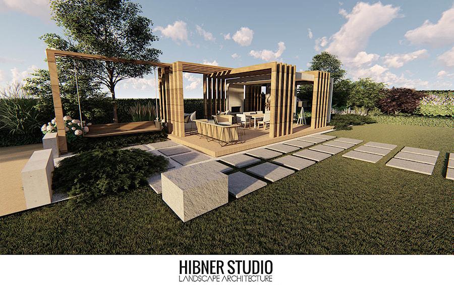 Ogród przy nowoczesnej rezydencji, Ciechocinek - Duży ogród za domem z pergolą z huśtawką, styl nowoczesny - zdjęcie od Hibner Studio Pracownia Architektury Krajobrazu