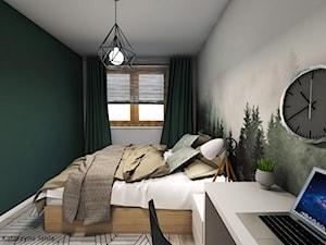 Projekt sypialni - Średnia szara zielona sypialnia małżeńska - zdjęcie od Katarzyna Jania