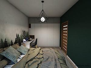 Projekt sypialni - Średnia zielona sypialnia małżeńska - zdjęcie od Katarzyna Jania