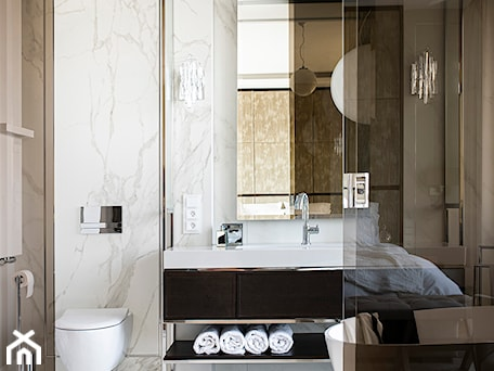 Apartament Wrocław 100m2 - Średnia biała beżowa łazienka, styl nowojorski - zdjęcie od Finchstudio Architektura Wnętrz
