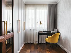 Apartament inspirowany Paryżem - Małe szare biuro pracownia domowe w pokoju - zdjęcie od Finchstudio Architektura Wnętrz