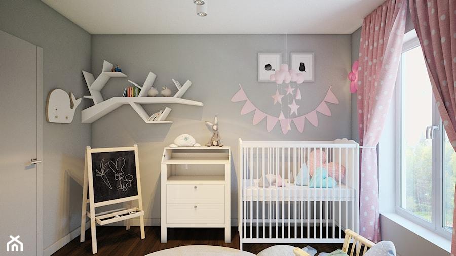 Aranżacje wnętrz - Pokój dziecka: zielony akcent - Mały szary pokój dziecka dla dziewczynki dla niemowlaka, styl skandynawski - Finchstudio Architektura Wnętrz. Przeglądaj, dodawaj i zapisuj najlepsze zdjęcia, pomysły i inspiracje designerskie. W bazie mamy już prawie milion fotografii!