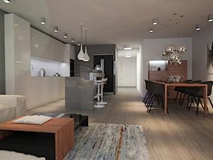 Apartament w Krakowie - Średnia otwarta szara jadalnia w kuchni, styl nowoczesny - zdjęcie od Finchstudio Architektura Wnętrz