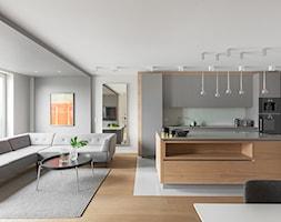 Minimalistyczny apartament w Krakowie 2016 - Średnia otwarta kuchnia jednorzędowa w aneksie z wyspą, styl minimalistyczny - zdjęcie od Finchstudio Architektura Wnętrz