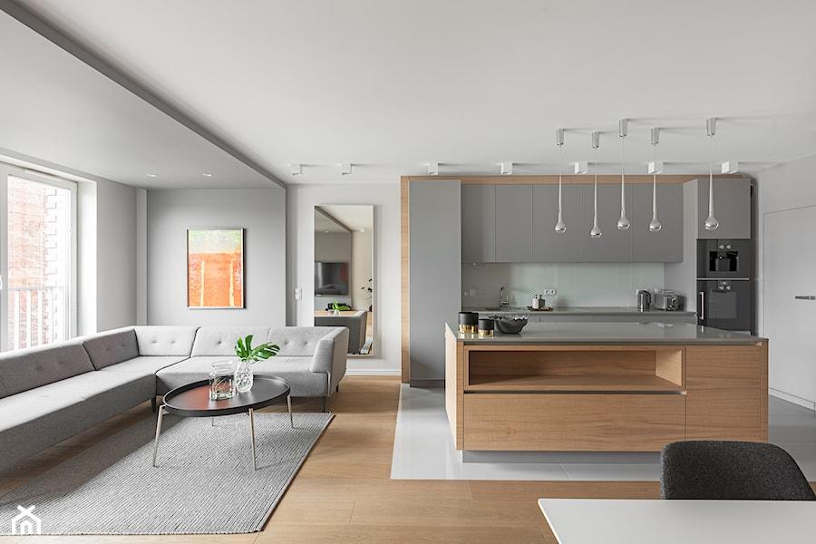 Minimalistyczny apartament w Krakowie 2016 - Średnia otwarta biała szara kuchnia jednorzędowa w aneksie z wyspą, styl minimalistyczny - zdjęcie od Finchstudio Architektura Wnętrz