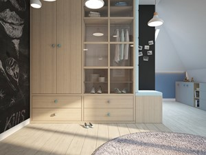 Dom pod Warszawą - Duży biały niebieski czarny pokój dziecka dla dziewczynki dla malucha, styl skandynawski - zdjęcie od Finchstudio Architektura Wnętrz