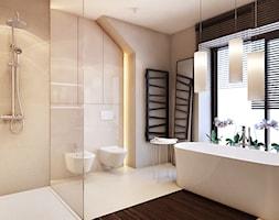 Dom pod Krakowem 2 - Duża beżowa łazienka w domu jednorodzinnym jako salon kąpielowy z oknem, styl nowoczesny - zdjęcie od Finchstudio Architektura Wnętrz