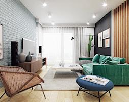 Przytulnie- dom w Krakowie - Mały biały czarny salon, styl skandynawski - zdjęcie od Finchstudio Architektura Wnętrz - Homebook