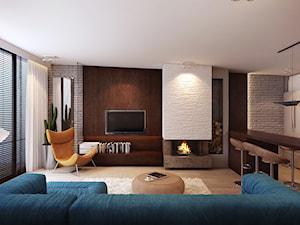 salon z kominkiem - zdjęcie od Finchstudio Architektura Wnętrz