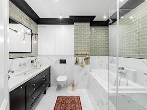 Paleta kolorów - Średnia szara łazienka w bloku w domu jednorodzinnym bez okna, styl nowoczesny - zdjęcie od Finchstudio Architektura Wnętrz