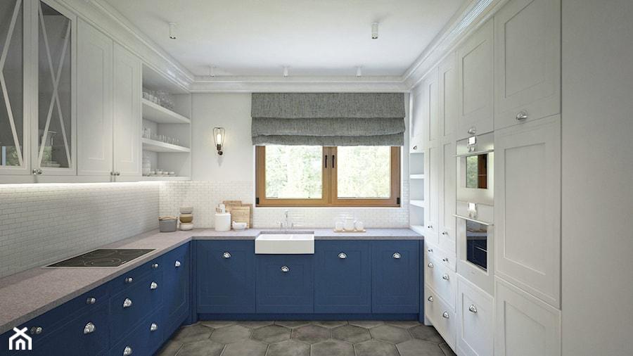 Dom z niebieską kuchnią  Średnia kuchnia w kształcie litery u, styl skandyna   -> Niebieska Kuchnia Inspiracje