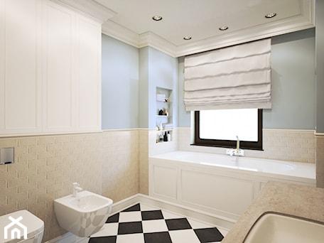 Średnia biała beżowa niebieska łazienka w domu jednorodzinnym z oknem, styl klasyczny - zdjęcie od Finchstudio Architektura Wnętrz
