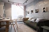 ściana z betonowych heksagonów, dywan w szare zygzaki, pokój w stylu industrialnym