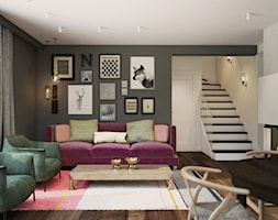 Dom z niebieską kuchnią - Średni szary biały salon z jadalnią, styl eklektyczny - zdjęcie od Finchstudio Architektura Wnętrz