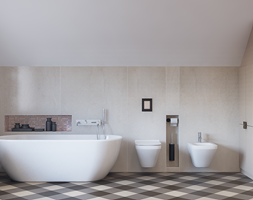 Dom w Brzegu Dolnym - Średnia beżowa łazienka na poddaszu w domu jednorodzinnym bez okna, styl minimalistyczny - zdjęcie od Finchstudio Architektura Wnętrz