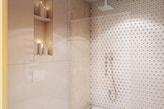 minimalistyczna łazienka, kabina walk-in, beżowe płytki ścienne z połyskiem