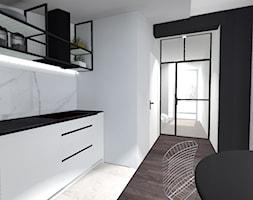 Mieszkanie w stylu industrialnym - Średnia zamknięta biała czarna kuchnia jednorzędowa w aneksie, styl industrialny - zdjęcie od Anna Wojnar Architektura Wnętrz