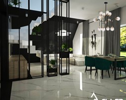Apartament w Raciborzu - Średni szary czarny salon z jadalnią, styl industrialny - zdjęcie od Pracownia architektoniczna - LARYSZ