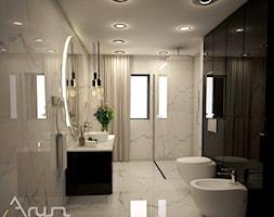 PROJEKT ŁAZIENKI- STYL NOWOCZESNY - Średnia czarna szara łazienka w bloku w domu jednorodzinnym z oknem, styl nowoczesny - zdjęcie od Pracownia architektoniczna - LARYSZ