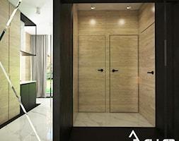 Apartament w Raciborzu - Mały beżowy czarny hol / przedpokój, styl industrialny - zdjęcie od Pracownia architektoniczna - LARYSZ