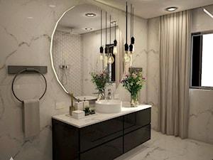 PROJEKT ŁAZIENKI- STYL NOWOCZESNY - Średnia łazienka w bloku w domu jednorodzinnym z oknem, styl nowoczesny - zdjęcie od Pracownia architektoniczna - LARYSZ