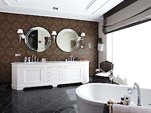 Dom w Wilanowie - Duża beżowa łazienka w bloku w domu jednorodzinnym z oknem, styl nowojorski - zdjęcie od BBHome Design