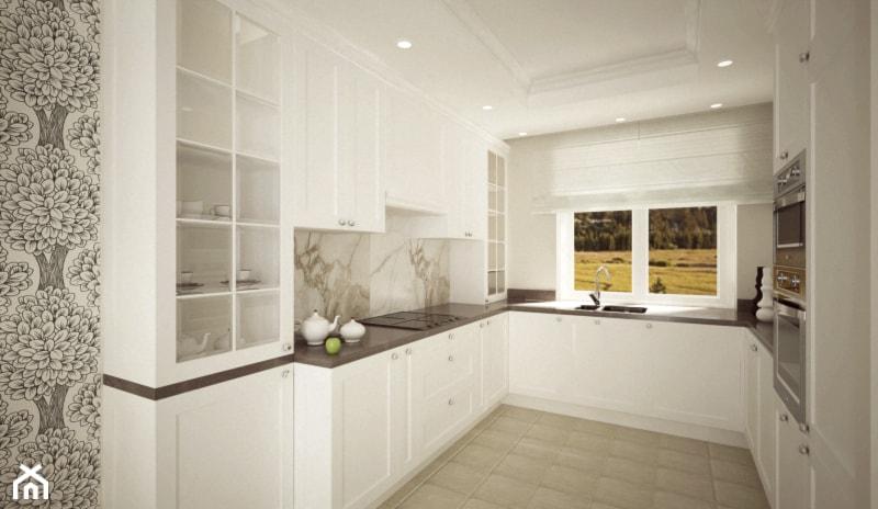 bia�a kuchnia duża otwarta kuchnia w kszta�cie litery u