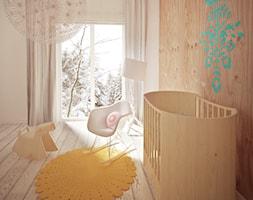 Pokój niemowlaka - Średni beżowy pokój dziecka dla chłopca dla dziewczynki dla niemowlaka dla malucha, styl skandynawski - zdjęcie od HolArt Studio
