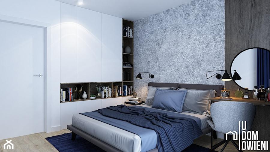 Prosta sypialnia w Gliwicach - Duża biała szara sypialnia małżeńska, styl nowoczesny - zdjęcie od UDOMOWIENI