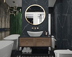 Łazienka z klasycznym motywem w Krakowie - Mała czarna łazienka na poddaszu w bloku w domu jednorodzinnym bez okna, styl eklektyczny - zdjęcie od UDOMOWIENI
