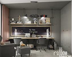 Domowy gabinet w Krakowie - Średnie szare biuro domowe kącik do pracy w pokoju, styl industrialny - zdjęcie od UDOMOWIENI - Homebook