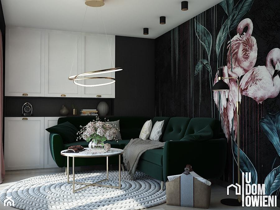 Ciemny salon z flamingiem - zdjęcie od UDOMOWIENI