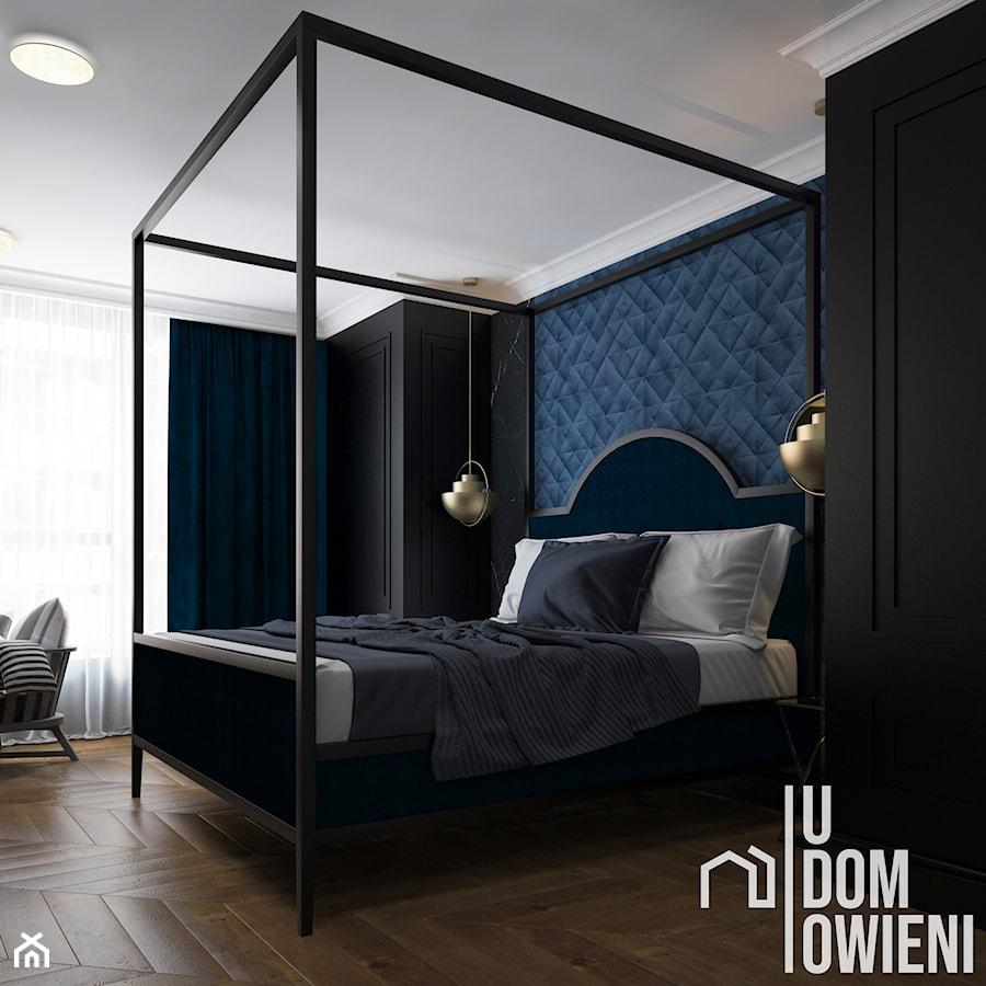 Nastrojowa sypialnia w Krakowie - Duża niebieska czarna sypialnia małżeńska, styl nowoczesny - zdjęcie od UDOMOWIENI