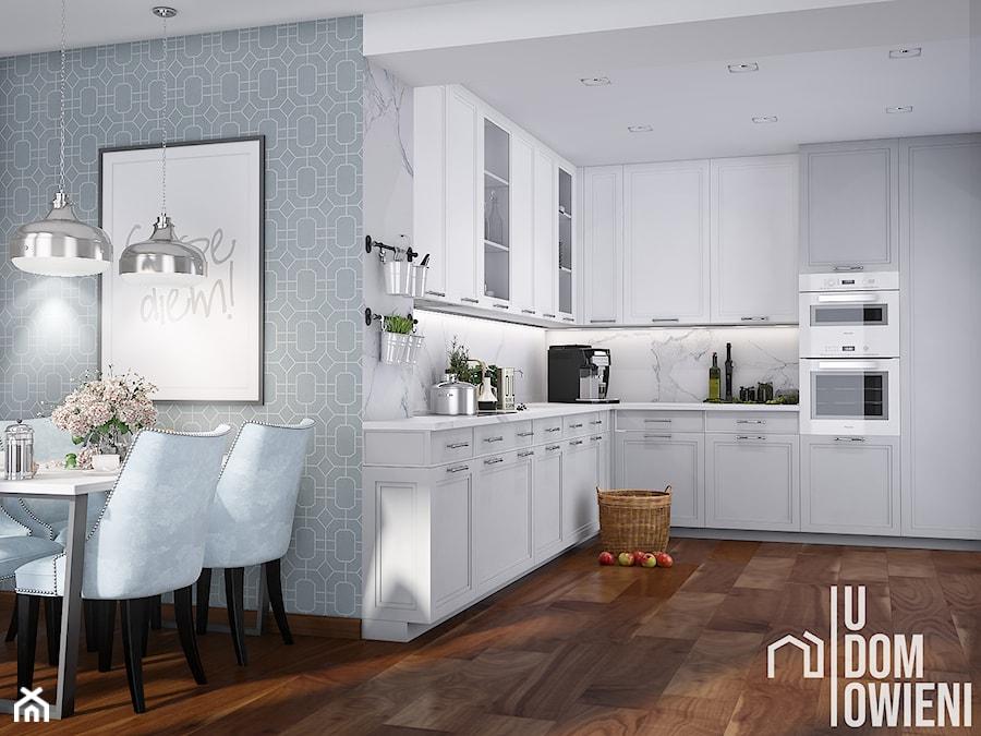 Przestronna kuchnia w Częstochowie - Średnia otwarta biała szara kuchnia w kształcie litery l, styl ... - zdjęcie od UDOMOWIENI