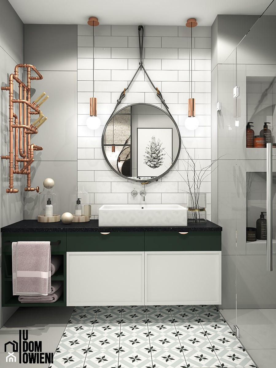 Łazienka z nutką zieleni - zdjęcie od UDOMOWIENI