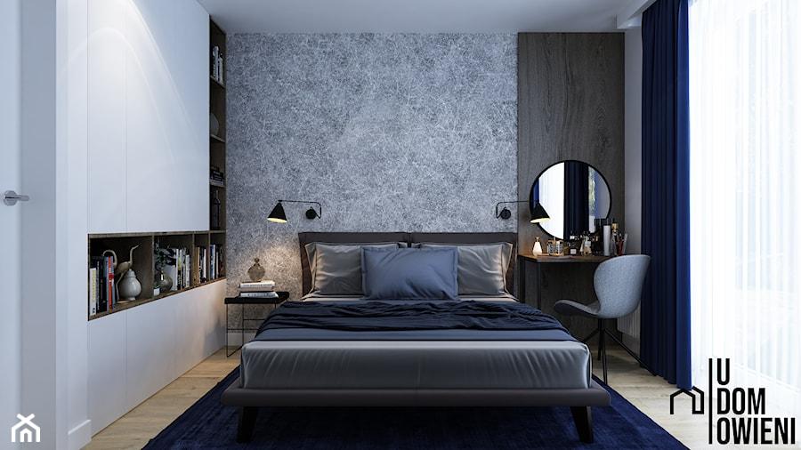 Prosta sypialnia w Gliwicach - Mała biała szara sypialnia małżeńska, styl minimalistyczny - zdjęcie od UDOMOWIENI