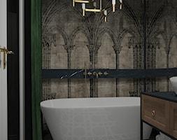 Łazienka z klasycznym motywem w Krakowie - Mała czarna łazienka w bloku w domu jednorodzinnym bez ok ... - zdjęcie od UDOMOWIENI - Homebook