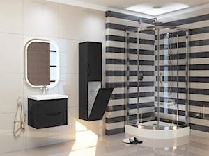 Średnia biała czarna łazienka w bloku w domu jednorodzinnym bez okna, styl klasyczny - zdjęcie od furnimeble.pl
