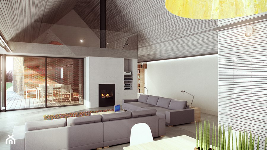 dom akustyczny w Żernikach Małych - Duży szary salon z jadalnią z antresolą, styl nowoczesny - zdjęcie od major architekci
