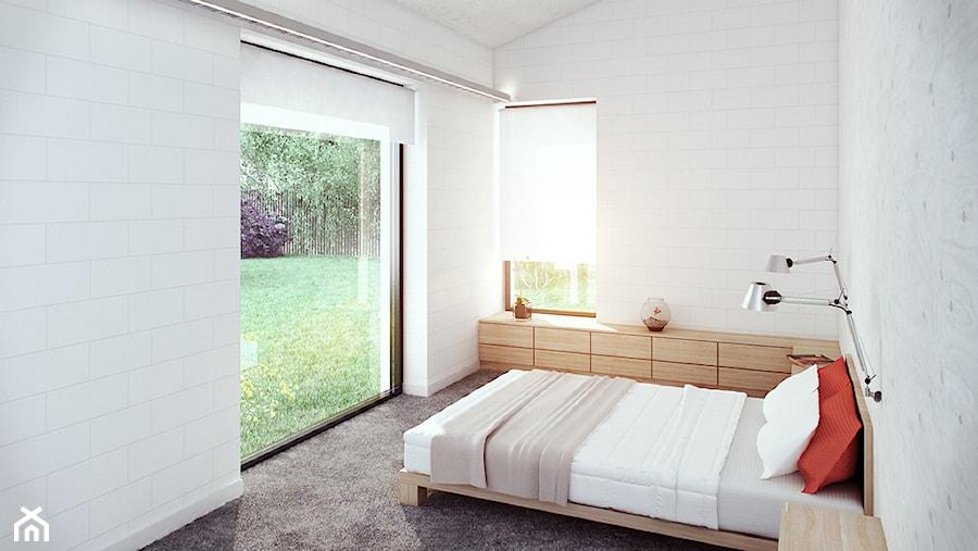 dom akustyczny w Żernikach Małych - Mała biała sypialnia na poddaszu, styl nowoczesny - zdjęcie od major architekci