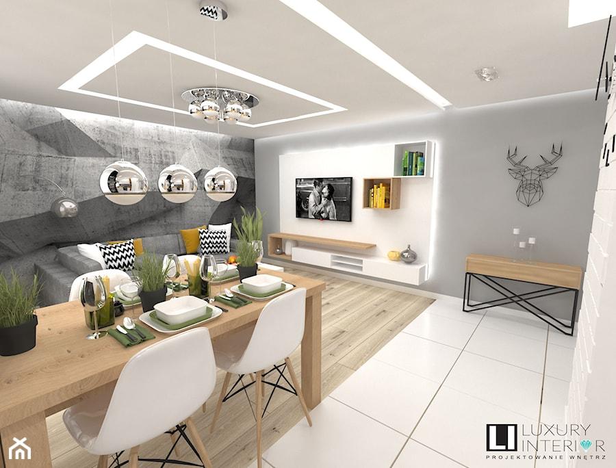 Mieszkanie 60 M2 Minsk Mazowiecki Maly Szary Bialy Salon Z