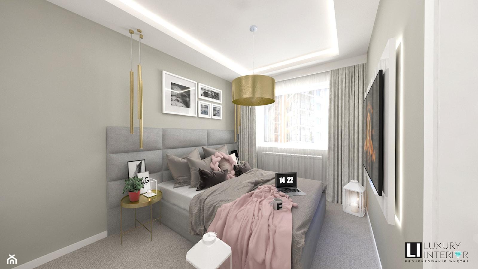 Sypialnia - Średnia biała szara sypialnia małżeńska, styl skandynawski - zdjęcie od LUXURY INTERIOR - Homebook