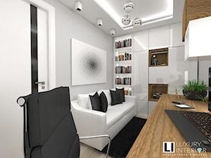 Mieszkanie 63 m2 - Średnie szare biuro domowe kącik do pracy w pokoju, styl tradycyjny - zdjęcie od LUXURY INTERIOR